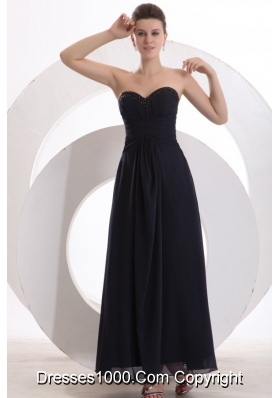 Navy Blue Princess Ankle-length Chiffon Prom Party Dress with Beading