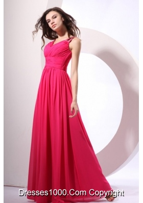 Beading Decorated Shoulder Coral Red Chiffon Empire Prom Gown Dress