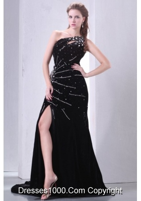 Black One Shoulder High Slit Brush Train Prom Maxi Dress with Beading
