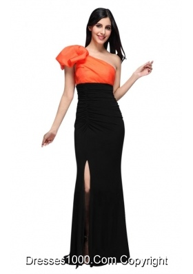 Graceful Black and Orange One Shoulder High Silt Prom Dress