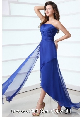 Blue Column One Shoulder Ruching High-low Chiffon Prom Gown Dress