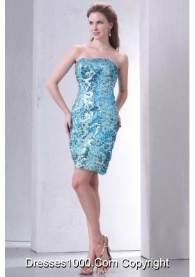 Chic Sequins Over Skirt Knee-length Strapless Sheath Prom Gown Dress