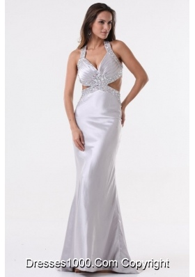 Sexy Silver Column Halter Top Prom Evening Dress with Beading