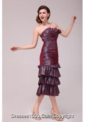 Hot Burgundy Column Tea-length Prom Dress with Ruffled Layers