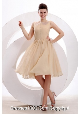 Champagne Chiffon Bateau Ruching Knee-length Prom Cocktail Dress