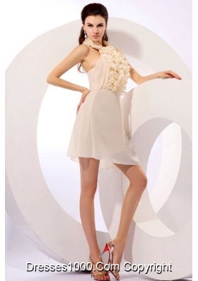Ruffled Halter Top Mini-length Champagne Chiffon Prom Party Dresses