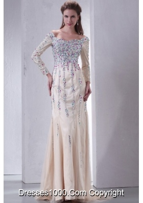 Beautiful Prom Dress with Multi-color Beading Decoration and Long Sleeves