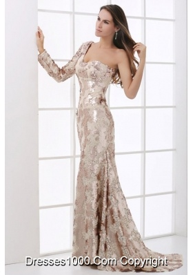 Stunning Sequins Champagne One Shoulder Long Sleeve Prom Dress