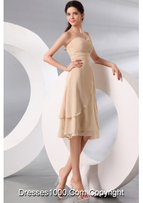 Champagne Knee-length Chiffon Prom Formal Party with Ruche