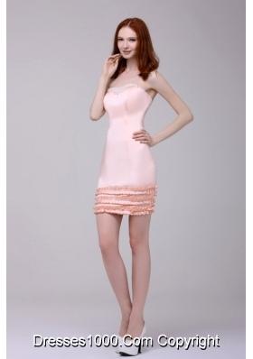 Sheath Strapless Mini-length Pink Prom Dama Dresses with Ruffled Edge