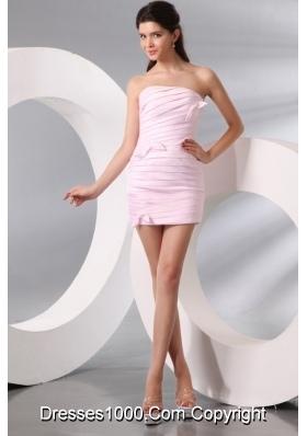 Lovely Column Baby Pink Strapless Ruching Short Dress for 2014 Prom