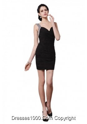 Column Black Straps Beading and Ruching Short Prom Night Club Dress