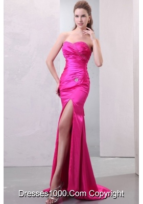 Sexy Hot Pink Prom Dress with Sweetheart Neckline and Slit on Skirt