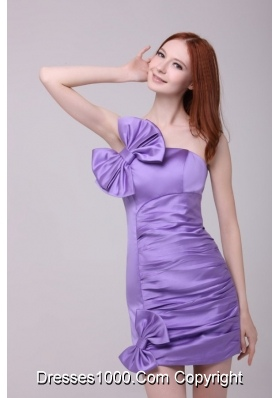 Column Lavender Bowknots Strapless Mini-length Dress for Prom Night