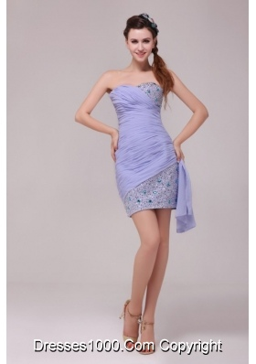 Ruching and Sequins Mini-length Chiffon Prom Gown Dress in Lavender