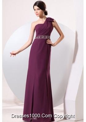 Half Bowknot Beaded Single Shoulder Purple Chiffon Prom Gown Dress