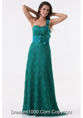 Turquoise Column One Shoulder Lace Bow Prom Gown Dress