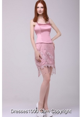 Pink Spaghetti Straps Short Prom Homecoming Dresses with Tassels