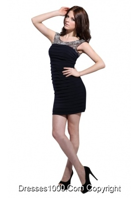 Sexy Column Scoop Black Ruching Mini-length Dress for Prom Queen