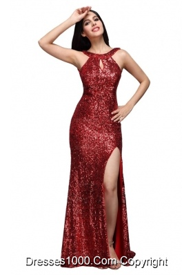 Column Scoop Wine Red Sequins High Slit Brush Train Prom Dresses