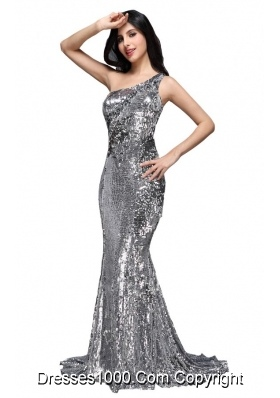 Column Sequins High Slit Silver One Shoulder Brush Train Prom Dresses