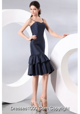 Navy Blue Spaghetti Straps Knee-length Prom Graduation Dress on Sale