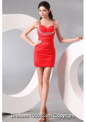 Column Straps Beading and Ruching Short Red Dresses for Prom Court