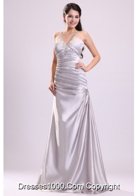Column Straps Beading Ruching Full-length Gray Dress for Prom Queen