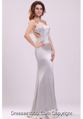 Column Straps Beading Satin Floor-length Prom Evening Dress in Grey