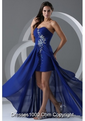 Wonderful Royal Blue Beading And Ruching Chiffon Prom Dress