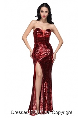 Column Sweetheart Wine Red Sequins Prom Evening Dress with High Slit