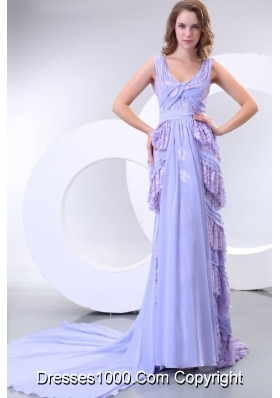 Lavender Long V-neck Lace and Chiffon Prom Dresses with Court Train