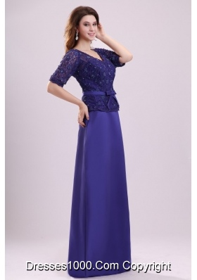 Column V-neck Lace Sash Purple Half Sleeves Satin Prom Holiday Dress