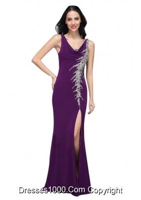 Chiffon Floor-length Column V-neck Purple Beading High Slit Prom Dress