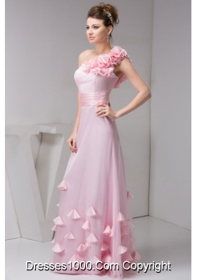 Chic Baby Pink Flower One Shoulder Empire Long Prom Pageant Dress