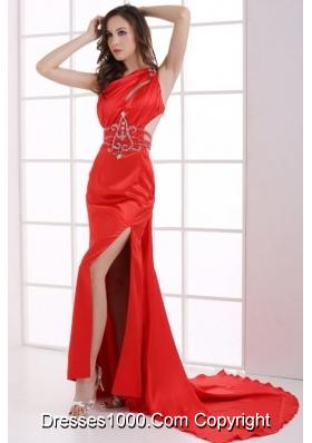 Gougers Column Red One Shoulder Beading High Slit Prom Dresses