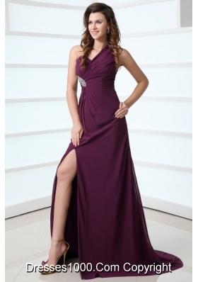 Purple One Shoulder High Slit Beading and Ruching Chiffon Prom Dress
