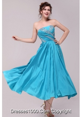Elegant Aqua Blue A-Line Strapless Prom Evening Dress with Beading