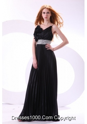 Wonderful Black Long Pleats Prom Dress with Spaghetti Straps