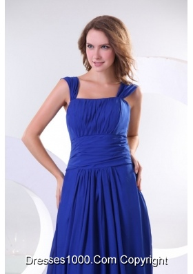 Beautiful Blue Prom Dress with Cap Sleeves and Ruches Decoration