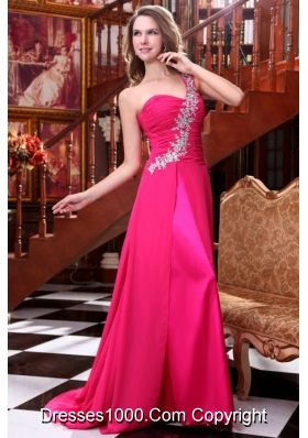 Amazing Empire One Shoulder Hot Pink Appliques Prom Dress