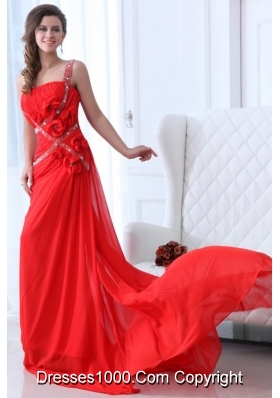 Empire Red One Shoulder Ruching Beading Chiffon Prom Holiday Dress