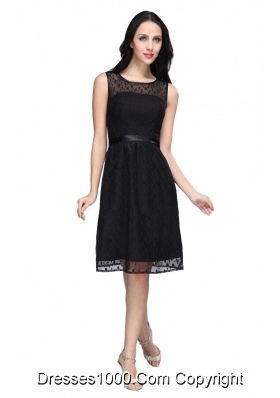 Black Empire Scoop Chiffon Knee-length Prom Formal Dress with Belt