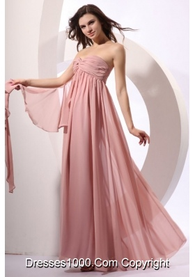 Discounted Pink Prom Dress with Ruched Bodice and Flowy Skirt