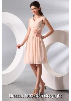 Top Seller Empire V-neck Champagne Short Prom Cocktail Dress