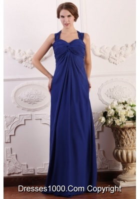 Wide Straps Empire Chiffon Prom Bridesmaid Dresses with Sweep Train