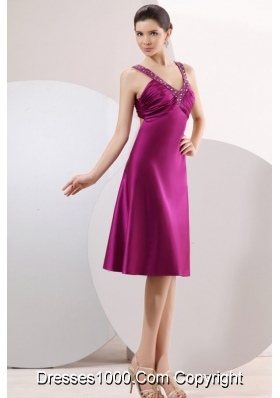 Fuchsia Column Beading and Ruching Straps Short Dresses for Prom
