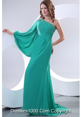 Beautiful Single Shoulder Chiffon Prom Dress in Teal with Sweep Train