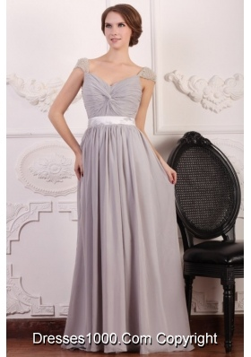 Beaded Cap Sleeves Full Length Gray Chiffon Prom Formal Dress