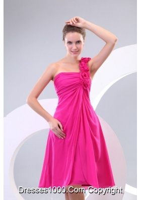 2014 Hot Pink Hand Made Flowers Ruching One Shoulder Prom Dresses